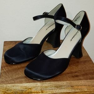 Unlisted Black Satin Closed Toe Ankle Strap Heels